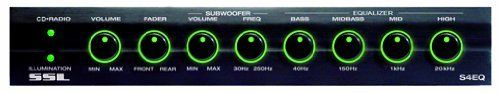 Sound Storm Laboratories S4EQ 4-Band Graphic Equalizer with Subwoofer Crossover, Input Gain Control, and Master Volume Control by Sound Storm Laboratories. $32.38. SSL equalizers provide the ability for you to boost or cut the output of specific frequencies on the fly to fine tune your music and movies to suit your personal auditory preferences. The S4EQ is a four band preamp equalizer with front, rear and subwoofer outputs. It also features two illumination optio...