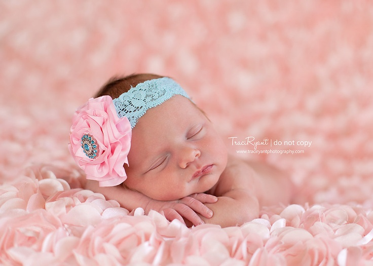 Light pink satin flower on aqua lace headband with fancy center- newborn, infant, child, teen or adult sizes. $10.00, via Etsy.