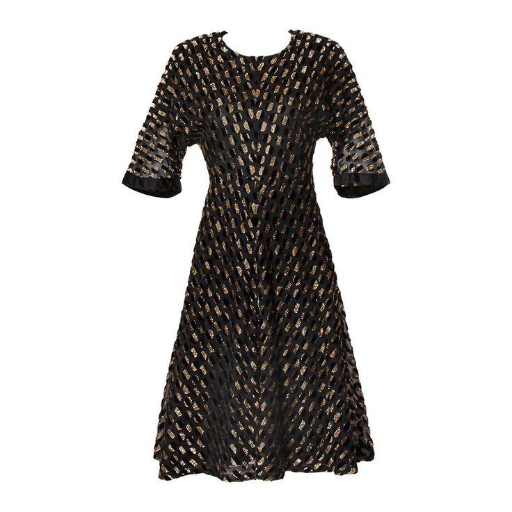 Hardy Amies Vintage Textured Metallic Flocked Organza Dress 1940