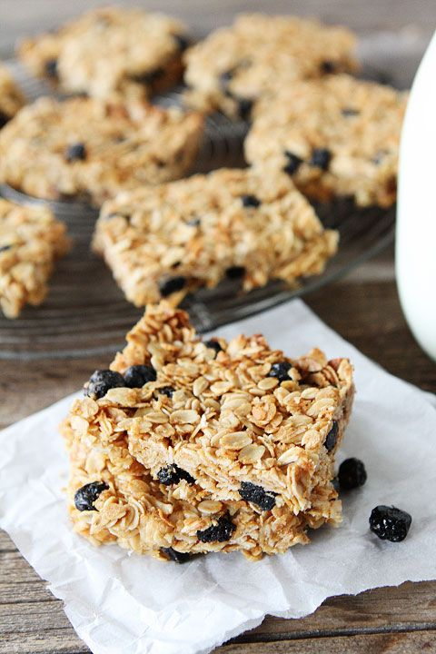 Blueberry Coconut Granola Bars Recipe on twopeasandtheirpod.com Easy to make at home and MUCH better than store bought!