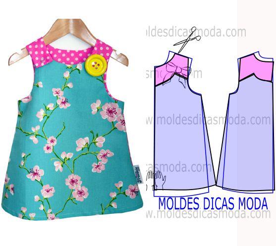 Depois de ter publicado vestidos de criança com números vou abordar a transformação do molde base vestido de criança no molde vestido de duas cores.