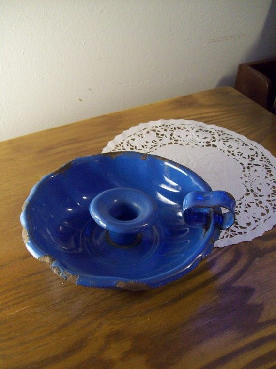 late 1800s antique blue enamel candle holder - french farm house