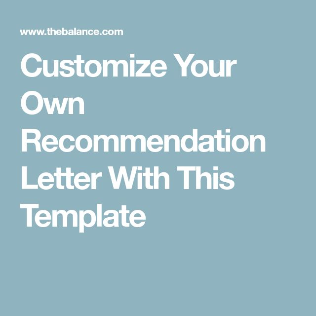 Customize Your Own Recommendation Letter With This Template