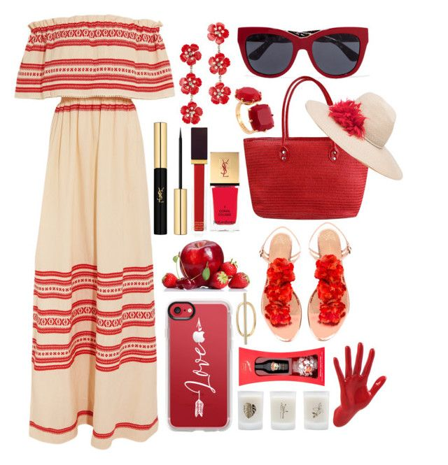 """Bloomin Red💞"" by pulseofthematter ❤ liked on Polyvore featuring Celia Dragouni, Jennifer Behr, Dolce&Gabbana, Les Néréides, Yves Saint Laurent, Tom Ford, Casetify, Thelermont Hupton, Elizabeth Scarlett and Eugenia Kim"