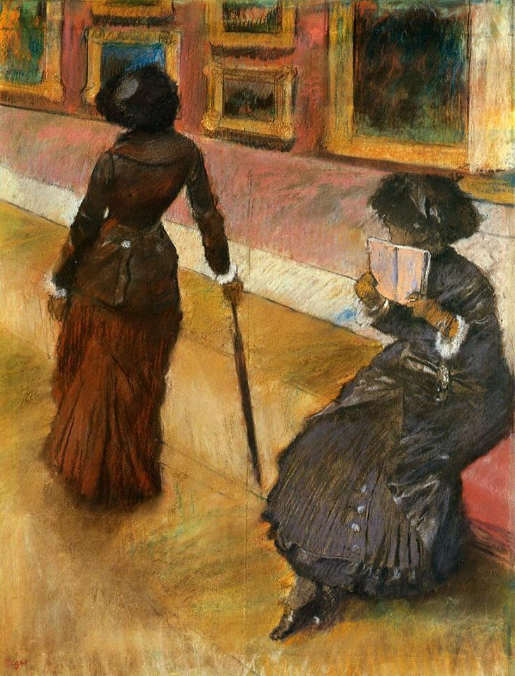 Mary Cassatt at the Louvre (1879-1880). Edgar Degas (French,  Impressionism, 1834-1917).  Pastel,  etching, softground etching, and aquatint. The Cleveland Museum of Art. Degas rendered a realistic objective picture of urban life, often concentrating on images of women in society. He was preoccupied with portraying the characteristic lighting of specific settings, such as the slightly murky illumination of the Louvre gallery, where artificial lights create dramatic patterns of light and…