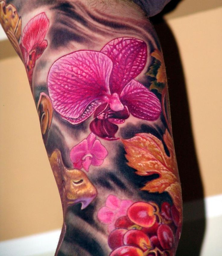 Magenta Orchid Tattoo.. wow, the detail! I love orchids, totally want one going down my side :)