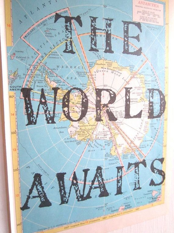 The World Awaits Vintage Map Unique Print Map Gift by OpusandVerse