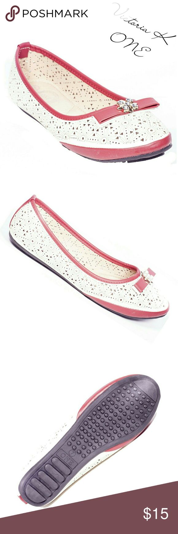 """Women Ballerina Flats with Bow, b-2094, Beige Red Brand new style! Victoria K perforated two-color, beige and red, woman ballerina flats with a sparkle-studded two-color bow in the front. From the ONE collection. Soft sole, very comfortable. Bubbled bottom sole for extra traction. A true staple in ladies shoes fashion! Measurements: size 7 measures 9.5"""", sz 7.5 - 9 3/4"""", sz 8 - 10"""", sz 8.5 - 10 1/4"""", sz 9 - 10.5"""", all half sizes are in 1/4"""" increments of each other. Tory K  Shoes Flats…"""