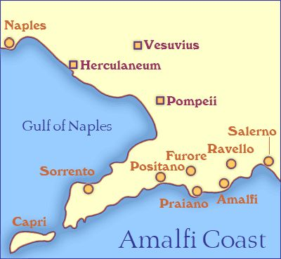 Discover Where to Go on the Amalfi Coast with This Map and Guide: Amalfi Coast Tourist Map Showing Towns