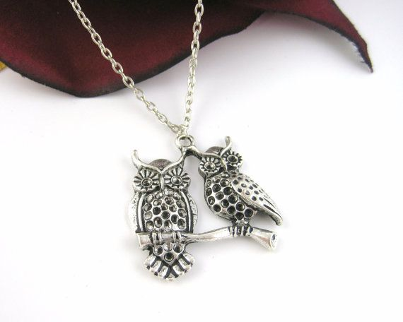 Double Owl Necklace Jewelry - Teen Girl Jewelry Silver Best Friend Owls