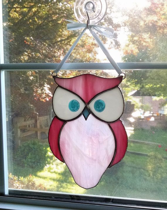 Stained Glass Owl Suncatcher Bird Ornament Window