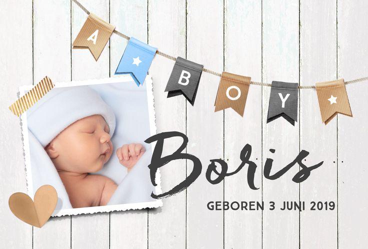 Lief geboortekaartje jongen met kraft elementjes, hout en vlaggenlijn van hipDesign.