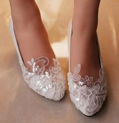 Online Shop Handmade bride married white lace flower wedding shoes rhinestone…