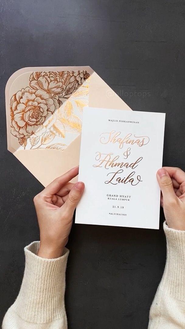 Video Rose Gold Foil Wedding Invitations Pernikahan