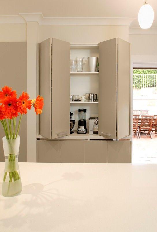 appliance cupboard with bi fold doors: