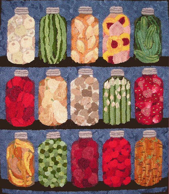 9 Pantry Jars Original Hooked Rug Pattern By Maryellenwolffdesign
