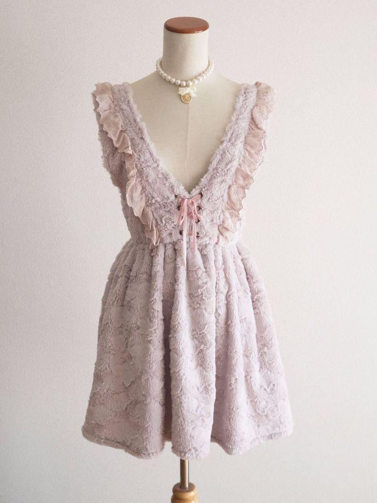 🌺LIZ LISA🌺Fur Lavender Corset Jumper Dress JSK Japan Size M Romantic Lolita #LIZLISA #JumperskirtJSK #Shibuya109Lolitafashion