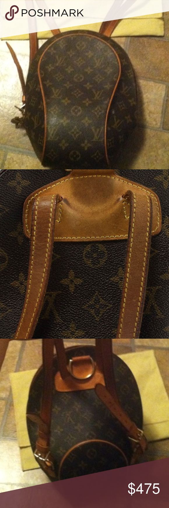 """Louis Vuitton Ellipse Backpack This is a  VINTAGE authentic LOUIS VUITTON Monogram Ellipse Backpack. The unique style of this backpack can create a chic contemporary style for everyday use. This is an excellent bag that is stylish and fabulously functional for all of your everyday essentials and luxury items.                                                    ***Wedding gift that was NEVER used  Box included. Length: 5"""", Height: 12"""", Depth: 4"""", Drop: 14"""" Item Location: New York, New York…"""