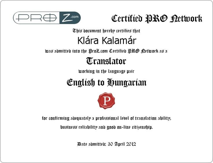 My wife's PRO certificate