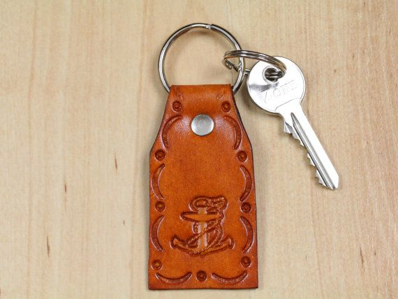 Anchor Keychain  Leather Anchor Key Fob  by TinasLeatherCrafts. Repin To Remember.