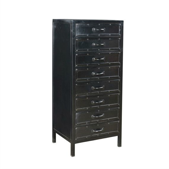 Tall Chest of Drawers - Black Iron: Part of a range of black iron industrial furniture, this tall chest of drawers is very solid and sturdy and can be used in so many ways such as for paperwork/filing, as storage for the kids work/pens/books and for clothes. Made from black iron the detail and quality of this item is great. Due to the industrial nature of this chest of drawers the overall look will survive many many knocks and last for a long time. Made from very solid iron this…