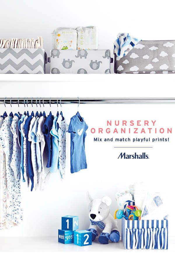 Nursery organization! Pick up playful, fabric bins to store extra diapers and wipes — and have some fun with mixing prints! Fill a striped diaper caddy with blankets and toys, and use baby hangers to keep outfits easily accessible. Visit Marshalls today to organize (and fill) that little closet!