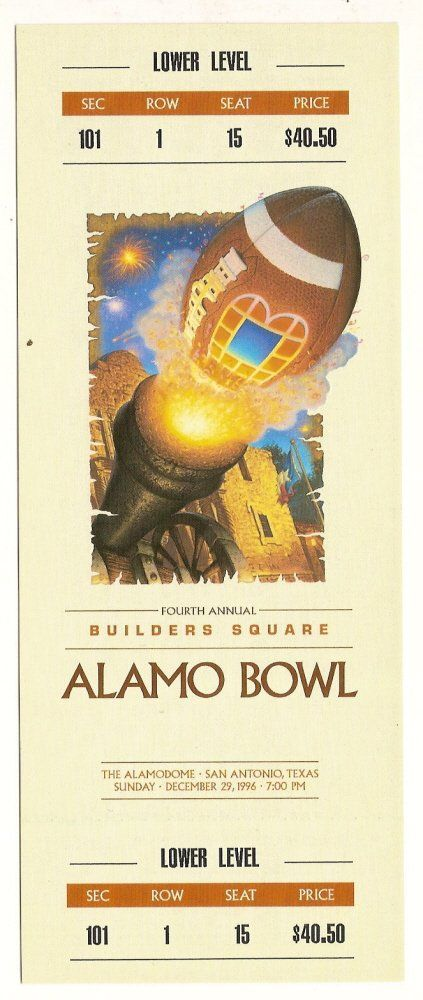1996 Alamo Bowl Game FULL Ticket Iowa Texas Tech....if you like this you will find Many More College Bowl Game tickets for sale at www.everythingcollectibles.biz