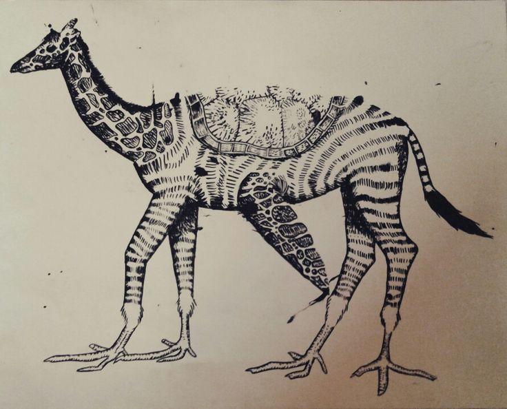 Zebra x giraffe x turtle x bird ink #drawing 2014