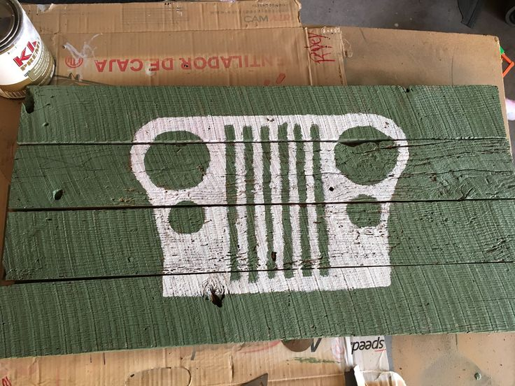 Jeep stencil barnwood sign
