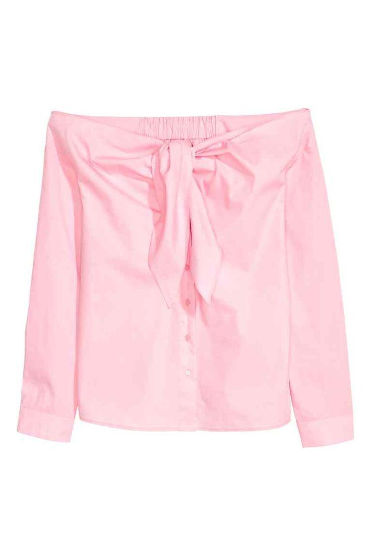 Nyitott vállú blúz - Világos rózsaszín - NŐI | H&M HU