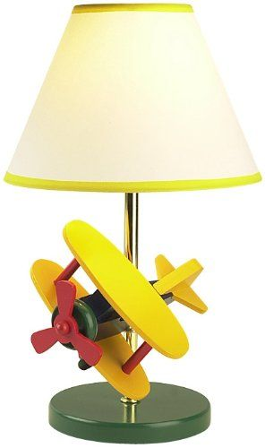 ZOOM WOODEN AIRPLANE CHILDREN'S TABLE LAMP   - Click image twice for more info - See a larger selection of kids table lamps at http://tablelampgallery.com/product-category/kids-table-lamps/ - home, home decor, home ideas, desk lamp , gift ideas, lightning, lamp, kids lamp