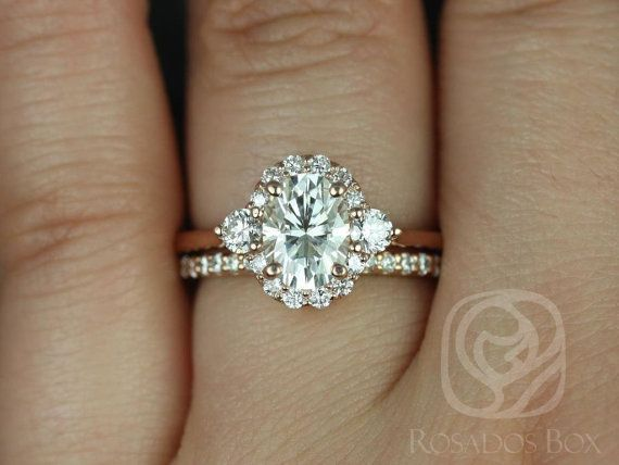 Britney 8x6mm 14kt Rose Gold Oval FB Moissanite and Diamonds Halo Wedding Set (Other metals and stone options available)
