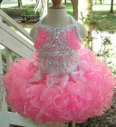 Girl Pageant 2015 Lovely Bling Pink Glitz Little Girl Pageant Dress Halter Crystal Beading Flower Short Kids Infant Party Gowns Girls Dresses 2014 From Queenwedding, $73.51| Dhgate.Com