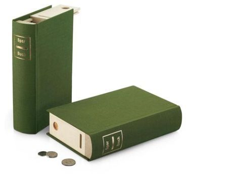 Savings book is a unique piggy bank disguised as a book for Secret piggy bank