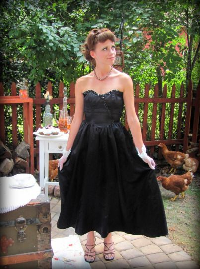 5e64f49a7d9 Vintage Black Satin Dress Sweetheart Neckline Full Skirt Tea Length Extra  Small  fashion  clothing  shoes  accessories  vintage   womensvintageclothing (ebay ...