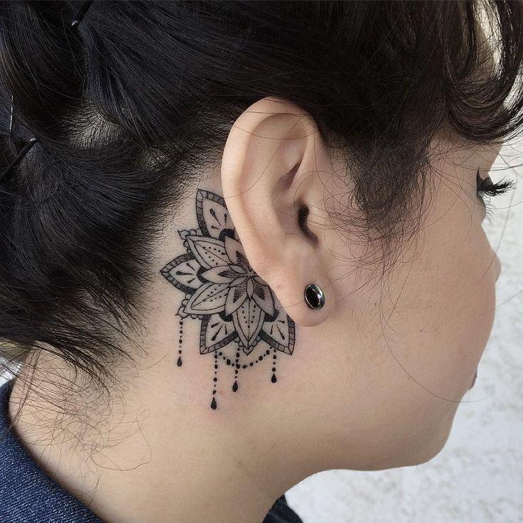 Behind The Ear Mandala C Tattoo Artist Kenny Sanchez Z New Tattoo Models Behind Ear Tattoos Neck Tattoo Ear Tattoo