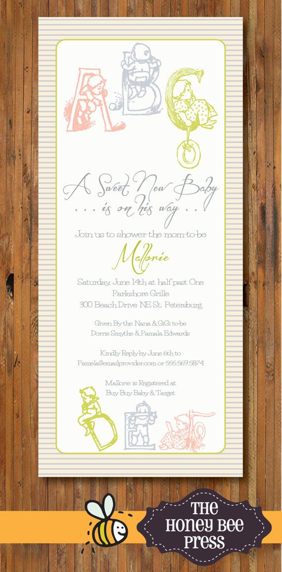 boy baby shower invitations australia%0A ABC Baby Shower Invitation for Baby BOY Item by TheHoneyBeePress