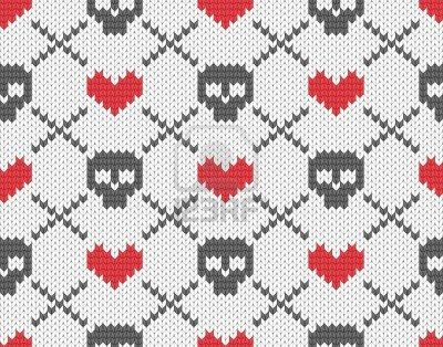 Seamless Knitted Pattern With Skulls And Hearts Royalty Free Cliparts, Vectors, And Stock Illustration. Image 16251021.
