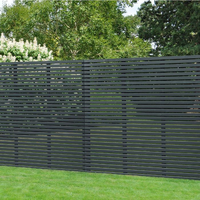 Forest 6 X 6 Contemporary Grey Slatted Fence Panel 1 8m X 1 8m