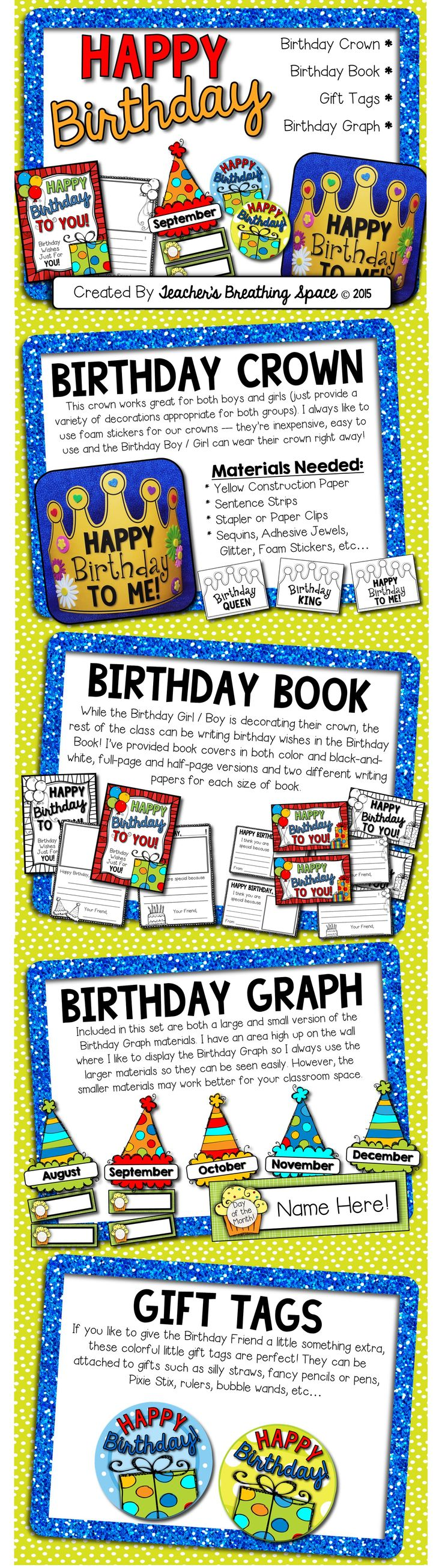 Happy Birthday Kit --- Birthday Crown / Birthday Book / Birthday Graph / Birthday Gift Tags! This set contains everything you need to help your Birthday Friends feel loved and celebrated on their special day!