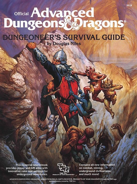 Dungeoneer's Survival Guide (1e) | Book cover and interior art for Advanced Dungeons and Dragons 1.0 - Advanced Dungeons & Dragons, D&D, DND, AD&D, ADND, 1st Edition, 1st Ed., 1.0, 1E, OSRIC, OSR, Roleplaying Game, Role Playing Game, RPG, Wizards of the Coast, WotC, TSR Inc. | Create your own roleplaying game books w/ RPG Bard: www.rpgbard.com | Not Trusty Sword art: click artwork for source