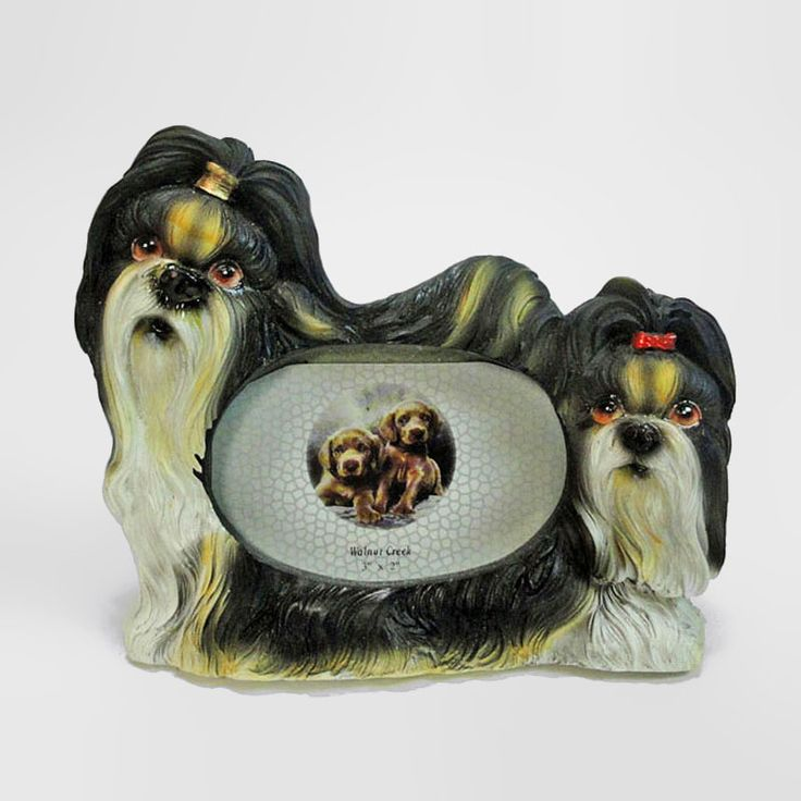 Shih Tzu Dogs Figurines Small Polyresin Picture Photo Frame - PFD732S - Shih Tzu dogs small polyresin dog figurines table or desk photo frame with easel back. Holds one 3 x 2 picture. Perfect for small places where space is an issue such as an office cubicle or bedside table - FOR SALE at www.ClaudiasBargains.com