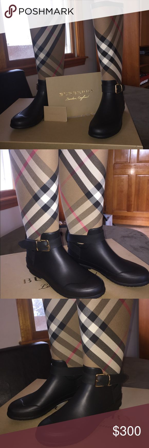 Burberry check and rubber rain boots. Authentic Burberry rain boots with card of authenticity and original burberry box. In new condition! Never worn, i am selling them because i received them as a gift but they are too big on me. They are beautiful. With no damages they are basically new. Burberry Shoes Winter & Rain Boots