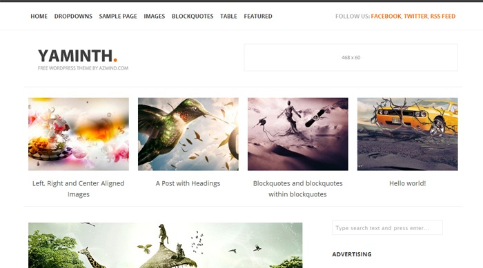 Yaminth, Free WordPress Minimal Portfolio Theme