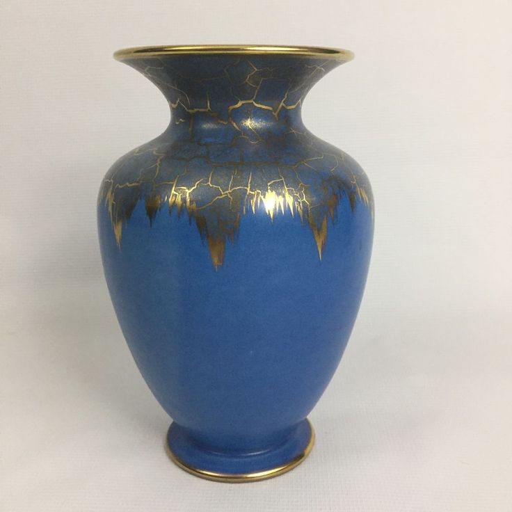 West German Pottery Dumler Breiden Blue And Gold Crackle Vase MCM WGP  | eBay