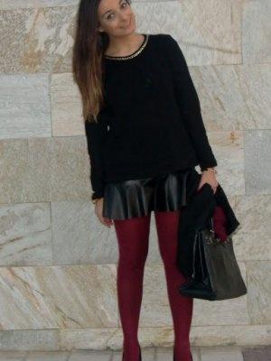 teresitatg Outfit  burdeos lefties falda cuero  Invierno 2012. Cómo vestirse y combinar según teresitatg el 7-1-2013