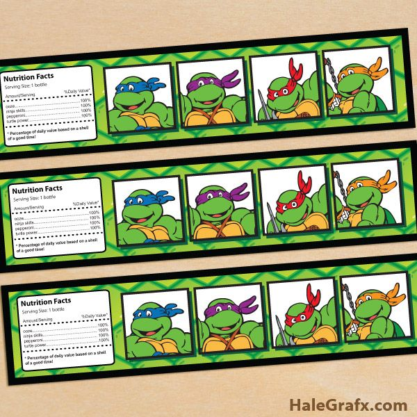 retro tmnt bottle labels FREE Printable Retro TMNT Ninja Turtle Water Bottle Labels