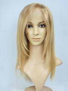 Top+Quality+Mid-Length+Straight+Haircut+100%+Remy+Human+Hair+Lace+Front+Blonde+Wig+16+Inches