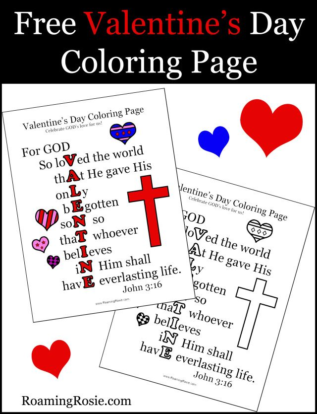Valentine S Day Coloring Page With John 3 16 Quote Valentines