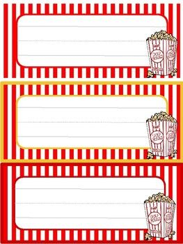 Bring your movie theatre themed classroom to life with these fun Popcorn Name Tags! Simply cut, write your students' names, and enjoy! (Three tags to an 8.5 x 11 page. There are also three different color variations.)